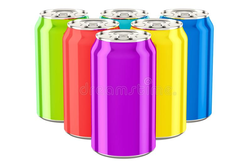 Boîtes métalliques colorées de boissons, rendu 3D illustration de vecteur