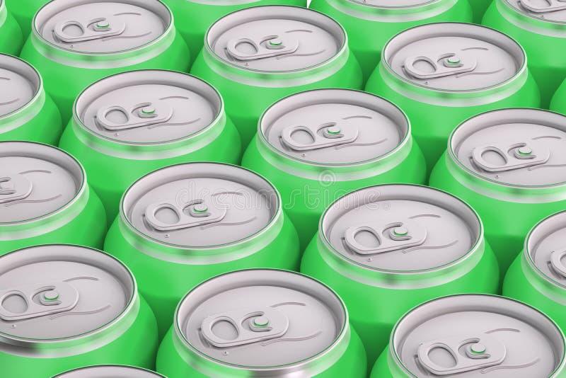 Boîtes métalliques de boissons vertes, vue supérieure illustration libre de droits
