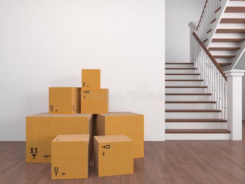 Boîtes mobiles à une nouvelle maison illustration 3D illustration stock