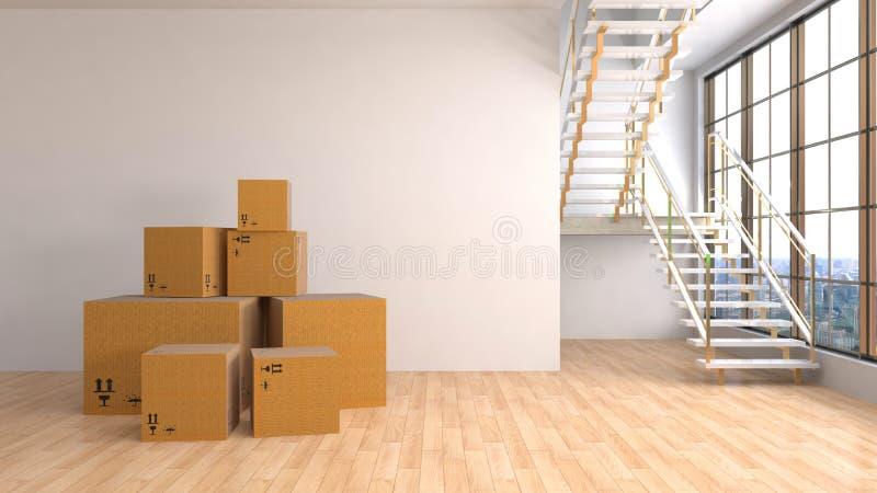 Boîtes mobiles à une nouvelle maison illustration 3D illustration de vecteur