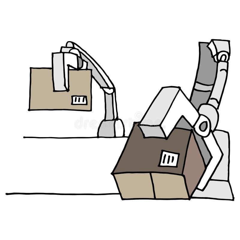 Boîtes mobiles de bras robotique illustration de vecteur