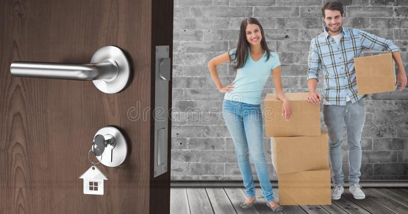 boîtes mobiles de personnes dans la nouvelle maison illustration stock
