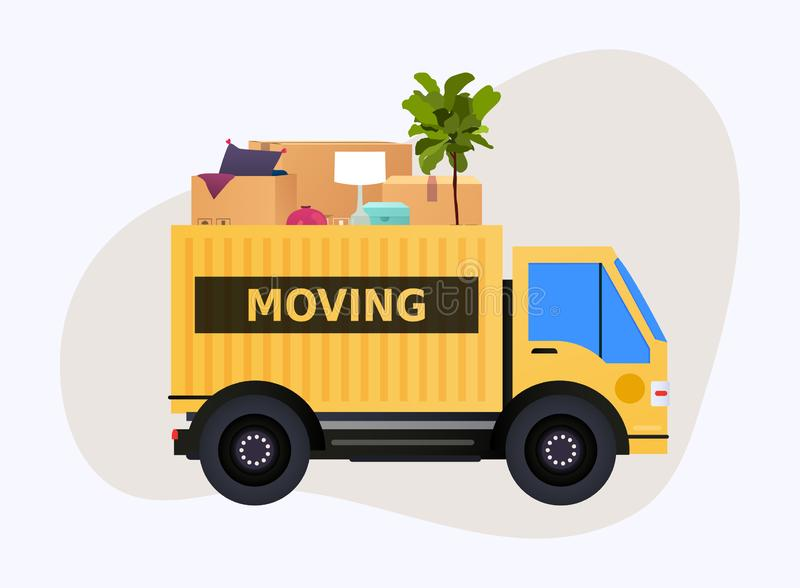 Boîtes mobiles en camion et en carton Maison mobile Transport compan illustration libre de droits