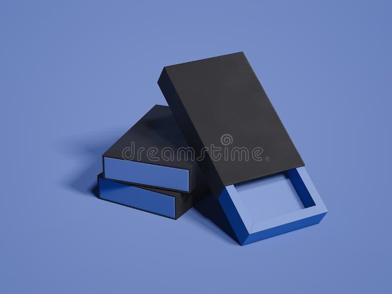 Boîtes noires sur le fond violet, rendu 3d illustration stock