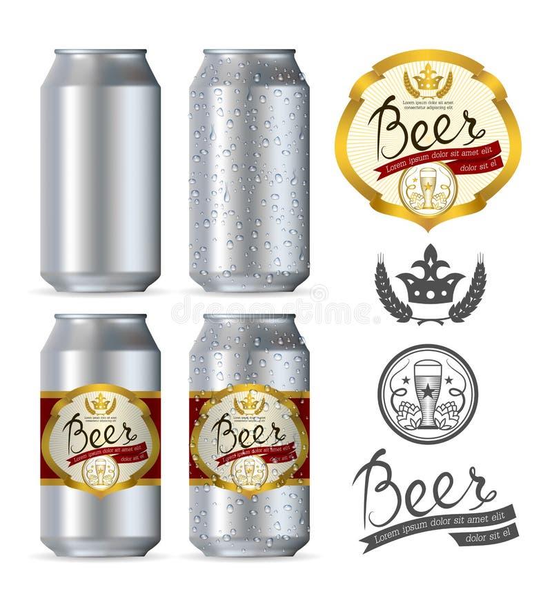Boîtes réalistes en aluminium de bière illustration libre de droits