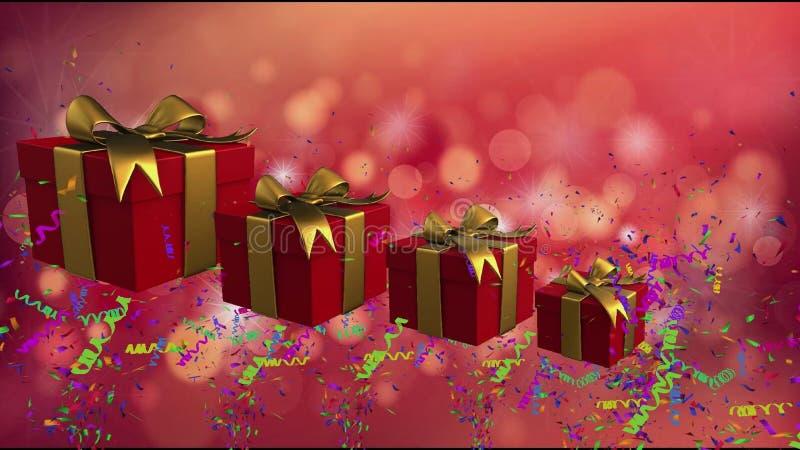 Boîtes rouges de vacances avec des rubans d'or illustration libre de droits