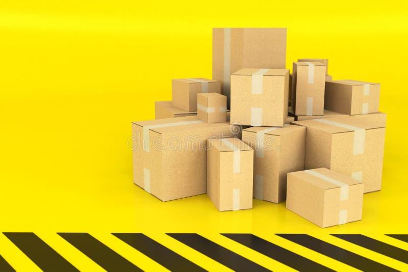 Boîtes sur un fond noir et jaune photographie stock libre de droits