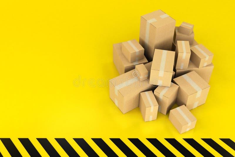 Boîtes sur un fond noir et jaune illustration de vecteur