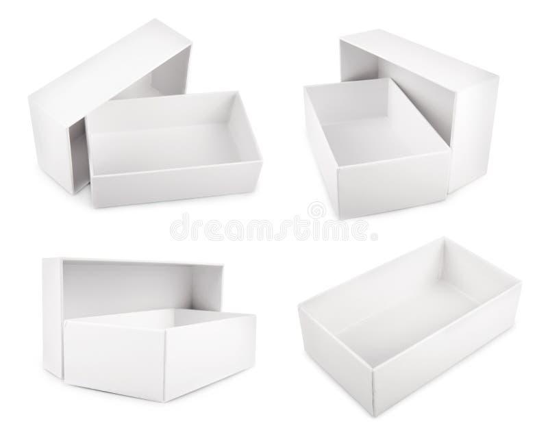 Boîtes vides blanches d'isolement sur le fond blanc image libre de droits