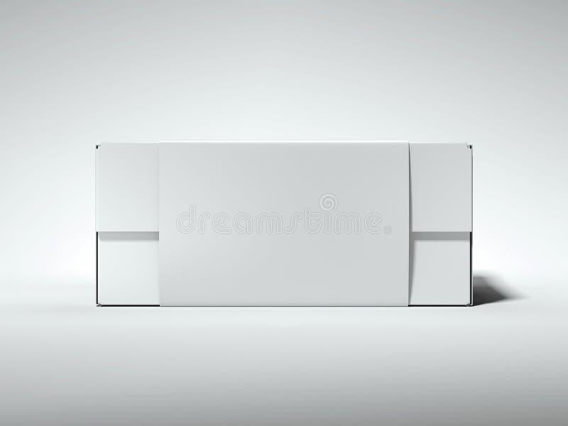 Boîtier blanc avec le label blanc rendu 3d illustration libre de droits