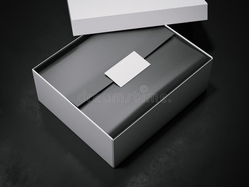 Boîtier blanc avec le papier d'emballage et la carte de visite professionnelle de visite noirs rendu 3d illustration libre de droits