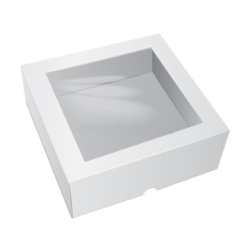 Boîtier blanc de gâteau de carton Pour les aliments de préparation rapide, le cadeau, etc. Maquette de vecteur Carry Packaging Ca illustration libre de droits