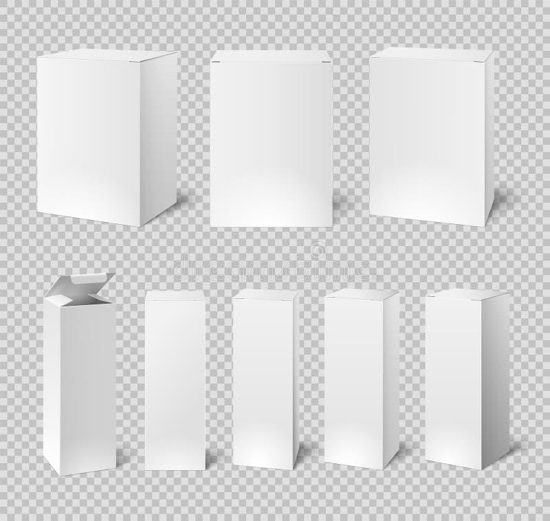 Boîtiers blancs vides Emballage rectangulaire de produit de médecine et de cosmétique maquettes de la boîte 3d d'isolement par ve illustration stock