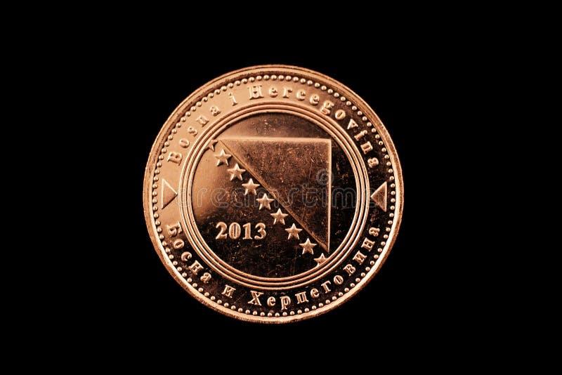 Bośniaka Pięćdziesiąt Fenings moneta Odizolowywająca Na czerni obraz stock