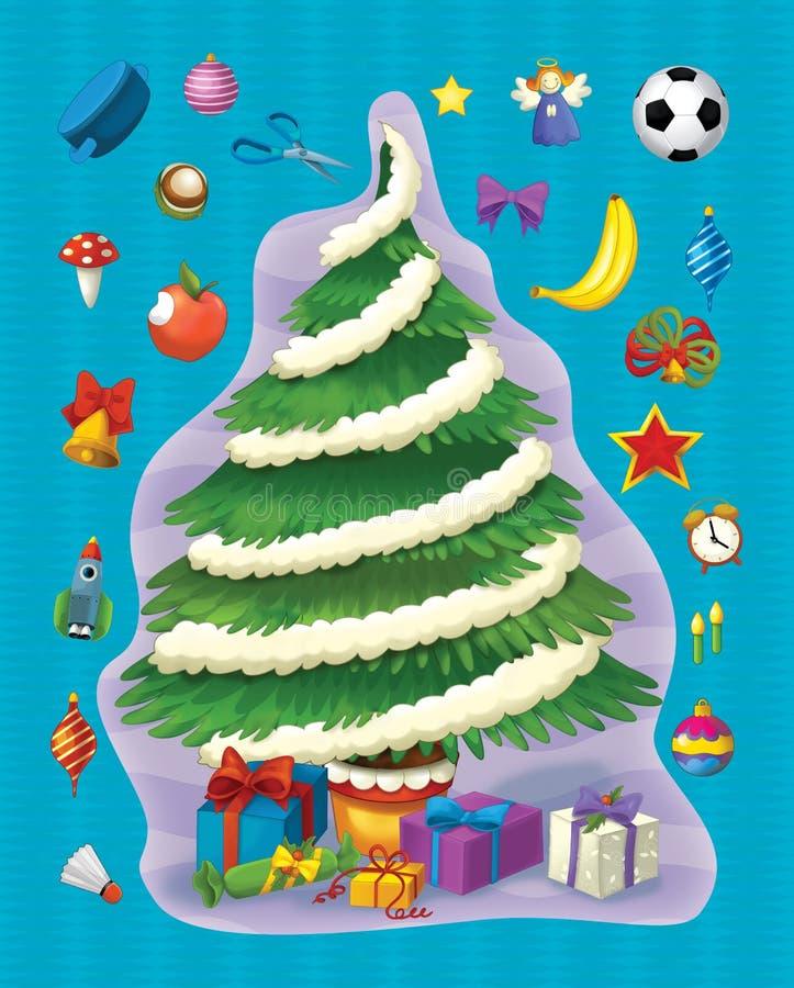 Boże Narodzenia ćwiczą ilustraci i pracy stronę dla dzieci - choinka - royalty ilustracja