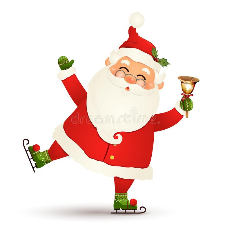 Boże Narodzenia, śliczna, śmieszna Święty Mikołaj jazda na łyżwach z złocistym dźwięczenie dzwonem odizolowywającym na białym tle ilustracja wektor