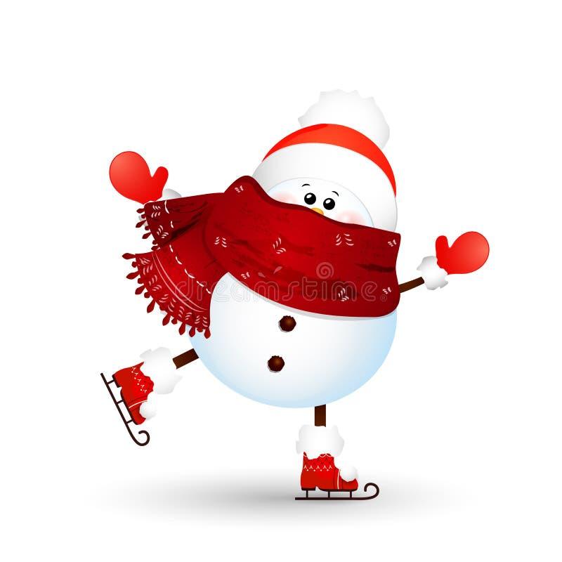 Boże Narodzenia, śliczna, śmieszna bałwan jazda na łyżwach odizolowywająca na białym tle, bałwan dla zimy i nowego roku wakacji S ilustracja wektor