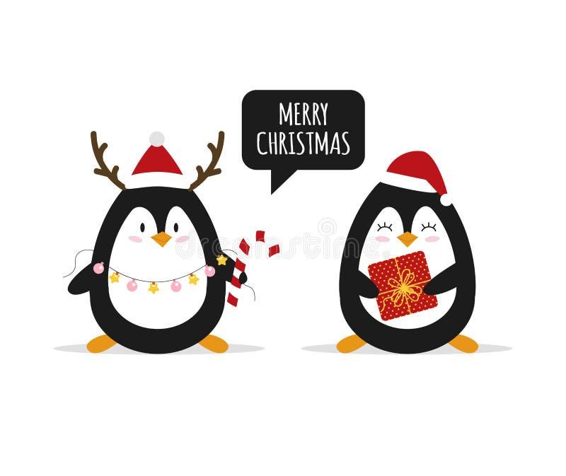 Boże Narodzenia Śliczni pingwiny z Bożenarodzeniowymi prezentami zwierzęta szczęśliwi wektor ilustracji