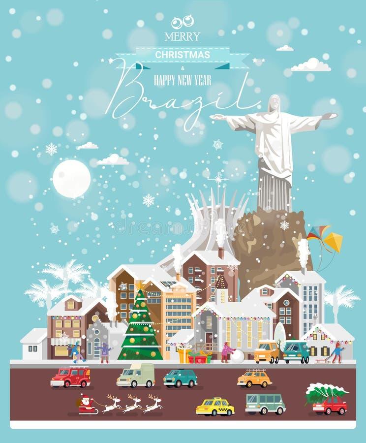 Boże Narodzenia życzą od Brazylia Nowożytna wektorowa kartka z pozdrowieniami w mieszkanie stylu z płatek śniegu, zimy miastem, d ilustracji