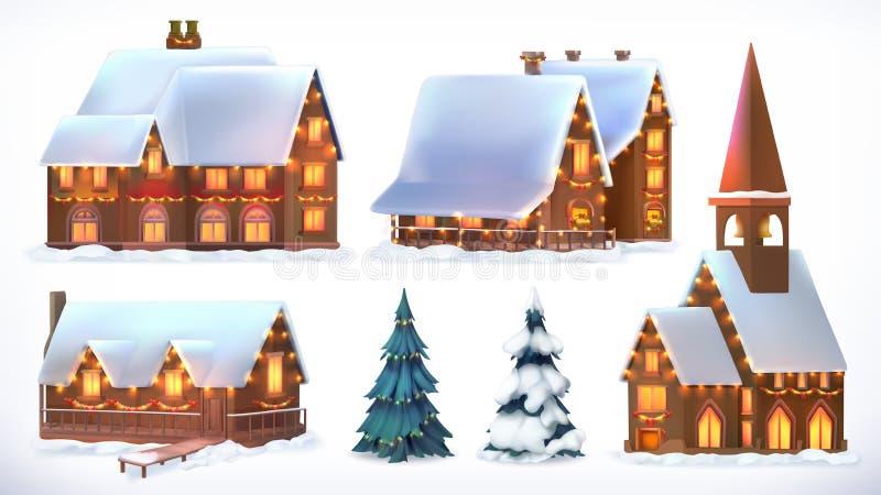 Boże Narodzenia Chałupy, dom na wsi świąteczne Boże Narodzenie dekoracje nowy rok, Set wektorowa ikona ilustracji