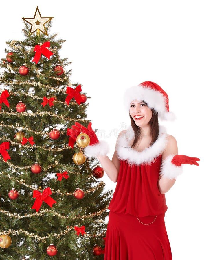 boże narodzenia decoreting dziewczyny kapeluszowego Santa drzewa obraz royalty free
