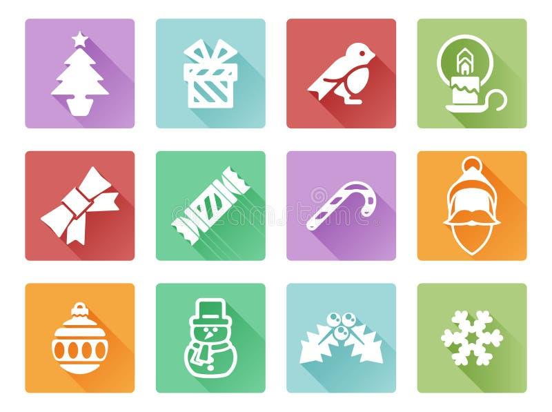boże narodzenia dekorować futerkowe ikony drzewne ilustracji