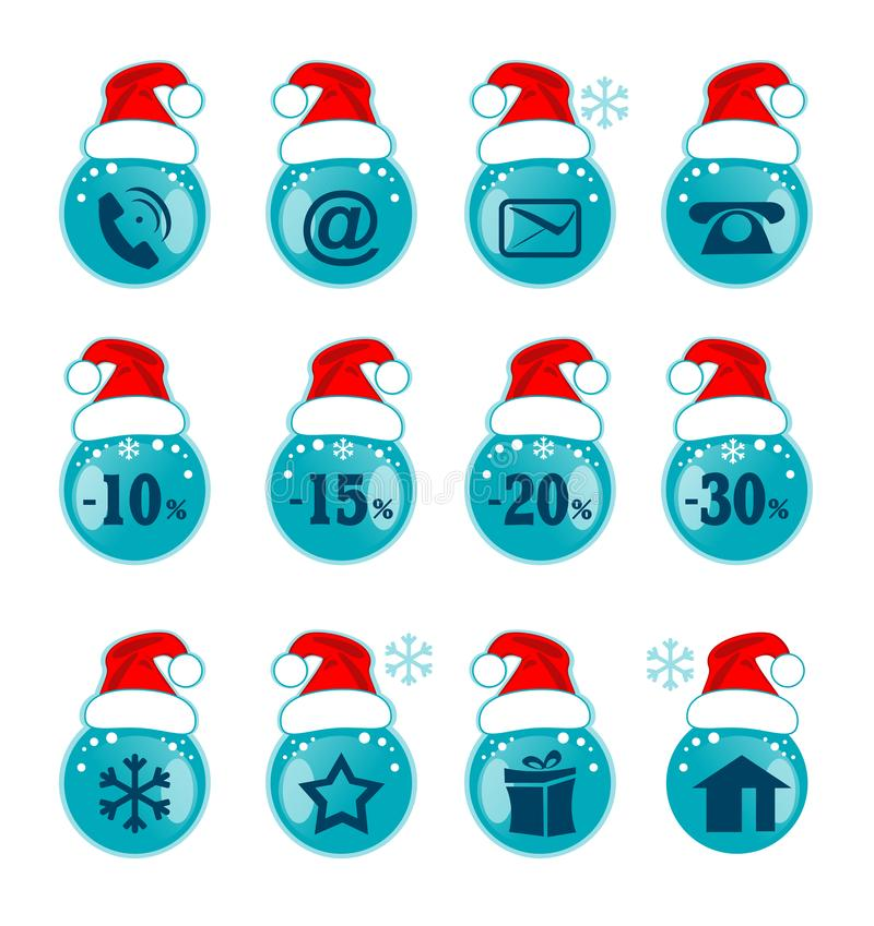 boże narodzenia dekorować futerkowe ikony drzewne Xmas znak dla stron internetowych ilustracji