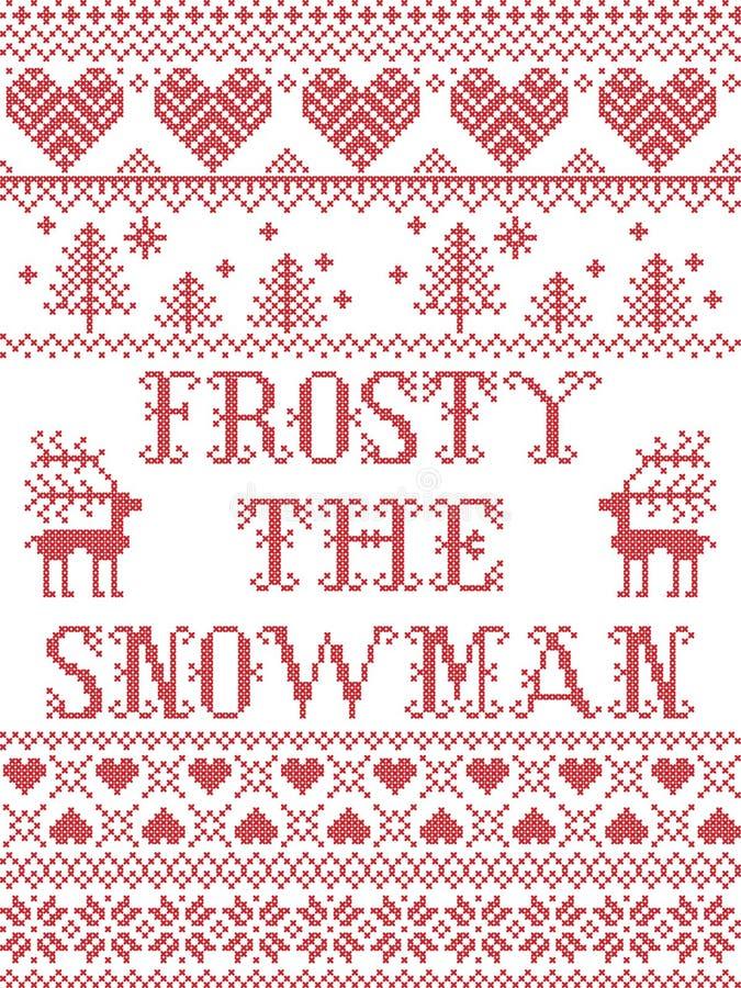 Boże Narodzenia deseniują bałwanu bezszwowego wzór inspirującego północnej kultury świąteczną zimą w przecinającym ściegu z serce royalty ilustracja