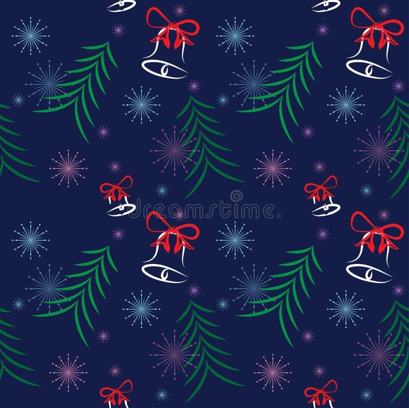 Boże Narodzenia deseniują drzewnych elementów płatka śniegu gwiazdy błękita dzwonkowego tło royalty ilustracja