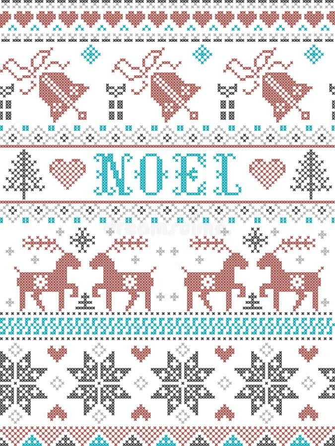 Boże Narodzenia Deseniują Noel skandynawa styl, inspirowanego Norweską świąteczną zimy kulturą, bezszwową, w przecinającym ściegu royalty ilustracja