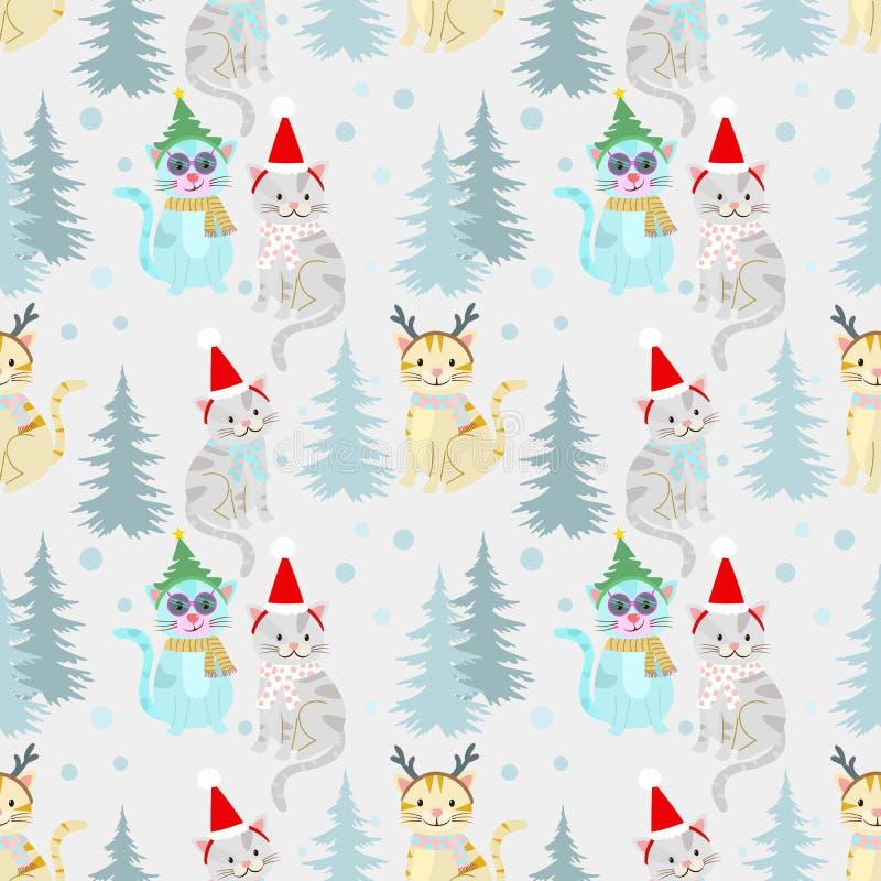 Boże Narodzenia deseniują tło z ślicznym kotem royalty ilustracja