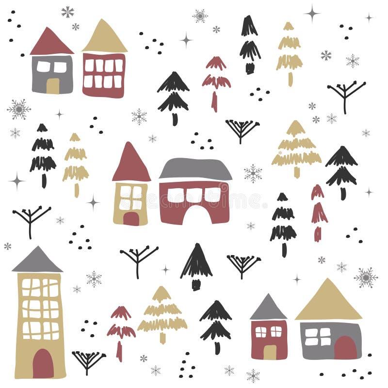 Boże Narodzenia deseniują z domami i drzewami ilustracji