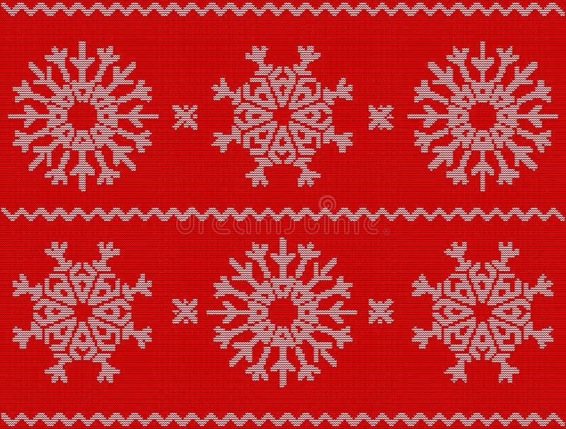 Boże Narodzenia deseniują z płatkami śniegu, nowego roku ornament na czerwień plecy ilustracja wektor