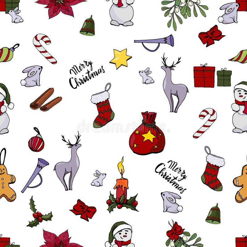 Boże Narodzenia deseniują z różnymi ikonami ilustracja wektor