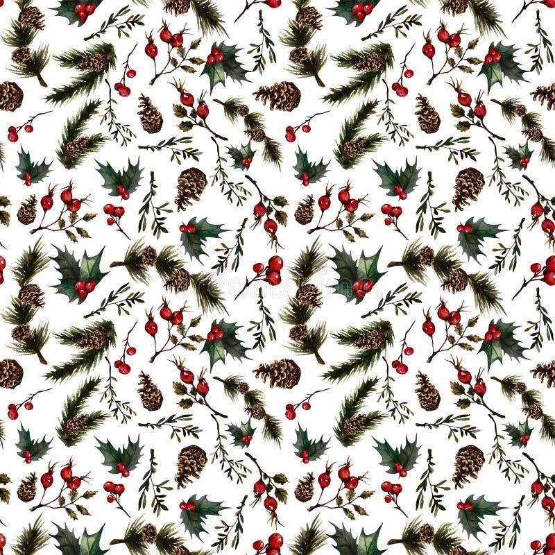 Boże Narodzenia deseniują z rosehip ilustracji