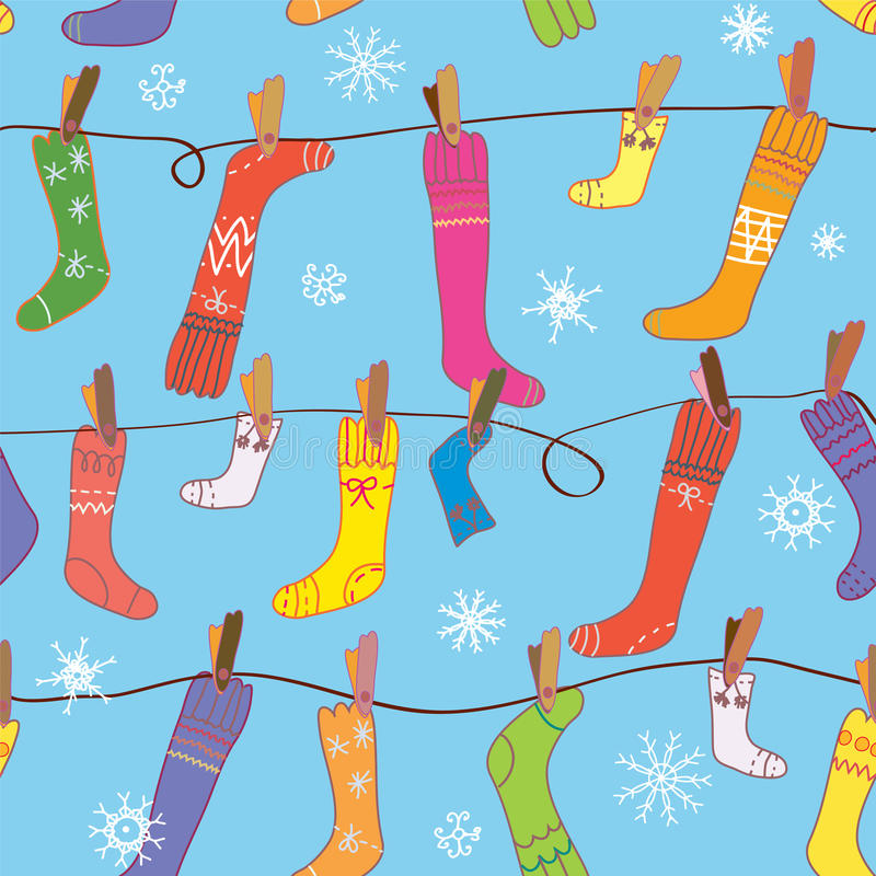 Boże Narodzenia deseniują z skarpetami i śniegiem royalty ilustracja