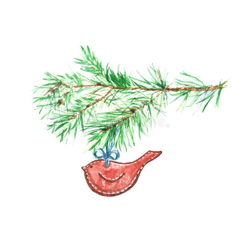 Boże Narodzenia felted ptasią czerwoną ornamentu i drzewa sosny gałąź na białym tle, odizolowywającym royalty ilustracja