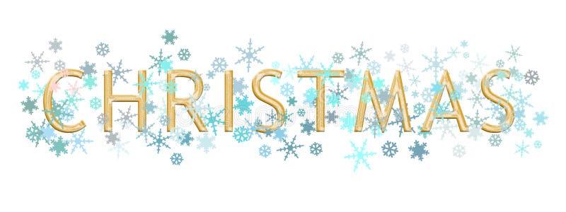 Boże Narodzenia formułują piszą w złocistym kruszcowym teksta stylu z turkusowym błękitem i srebnymi płatkami śniegu odizolowywaj ilustracji