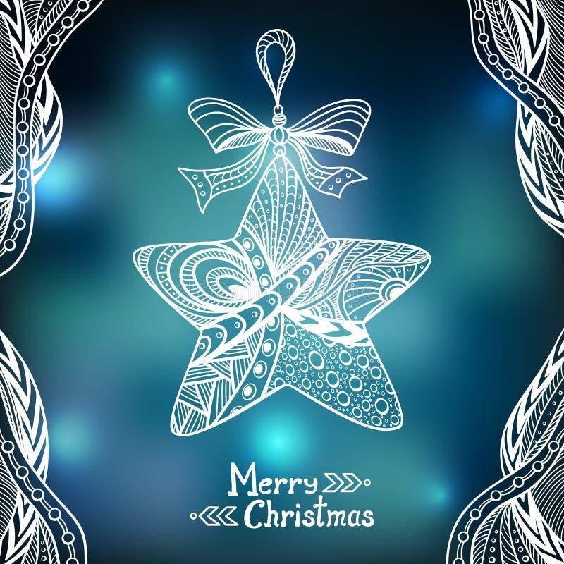 Boże Narodzenia Grają główna rolę w Doodle stylu na plamy tle w błękicie ilustracja wektor