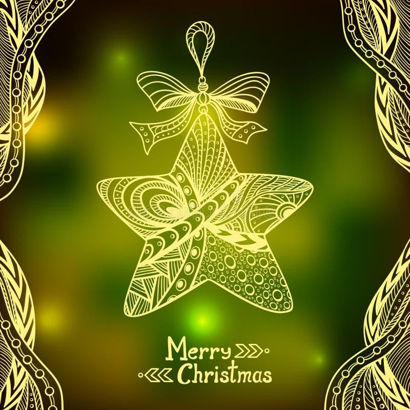 Boże Narodzenia Grają główna rolę w Doodle stylu na plamy tle w zieleni royalty ilustracja