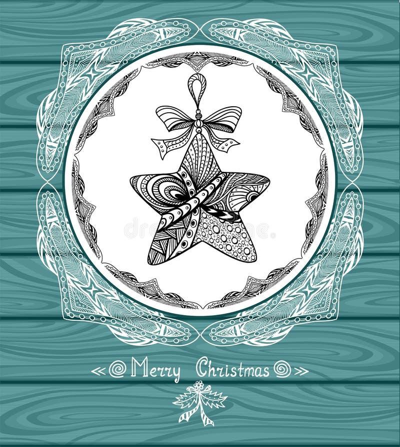 Boże Narodzenia Grają główna rolę w okręgu w Doodle stylu z koronką na błękitnym drewnianym tle ilustracji