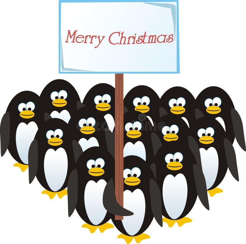 boże narodzenia gratulują pingwiny zdjęcie royalty free