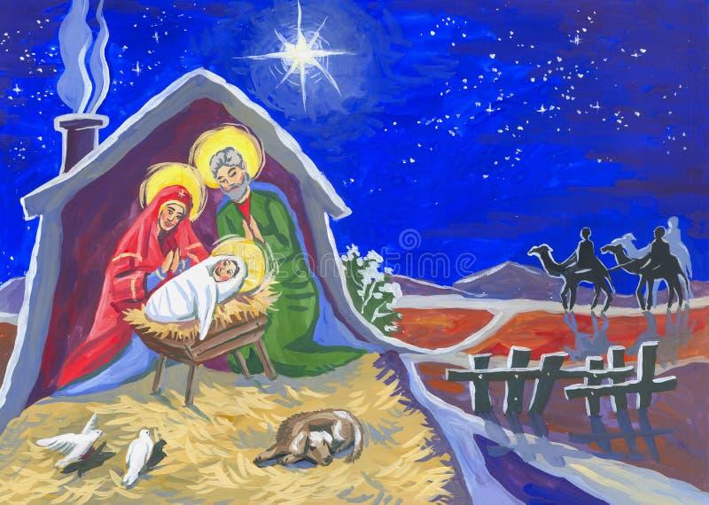 Boże Narodzenia gwiazda i dziecko ilustracja wektor