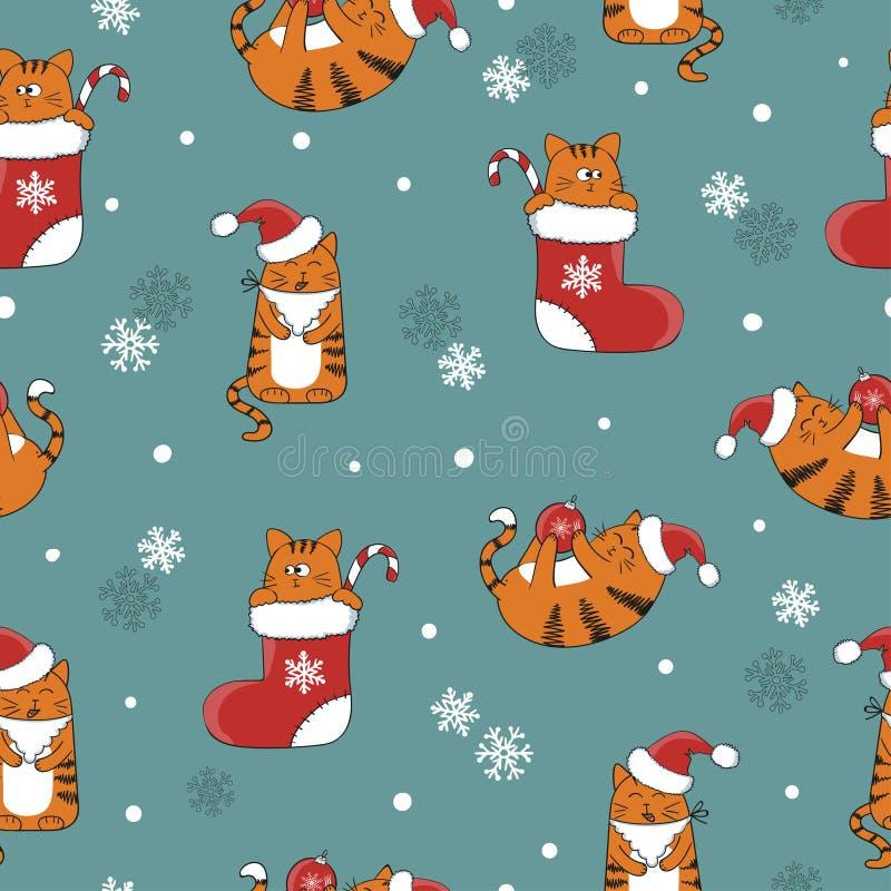Boże Narodzenia i nowego roku bezszwowy wzór z ślicznymi kreskówka kotami ilustracja wektor