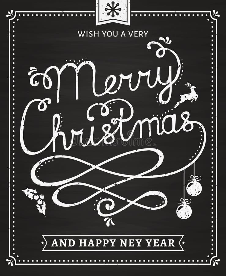 Boże Narodzenia i nowego roku chalkboard literowania karta ilustracja wektor
