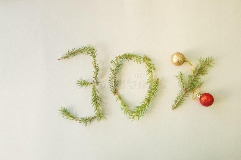 Boże Narodzenia i nowego roku dodatek specjalny 30% z dyskontowej promocyjnej sprzedaży zdjęcie stock