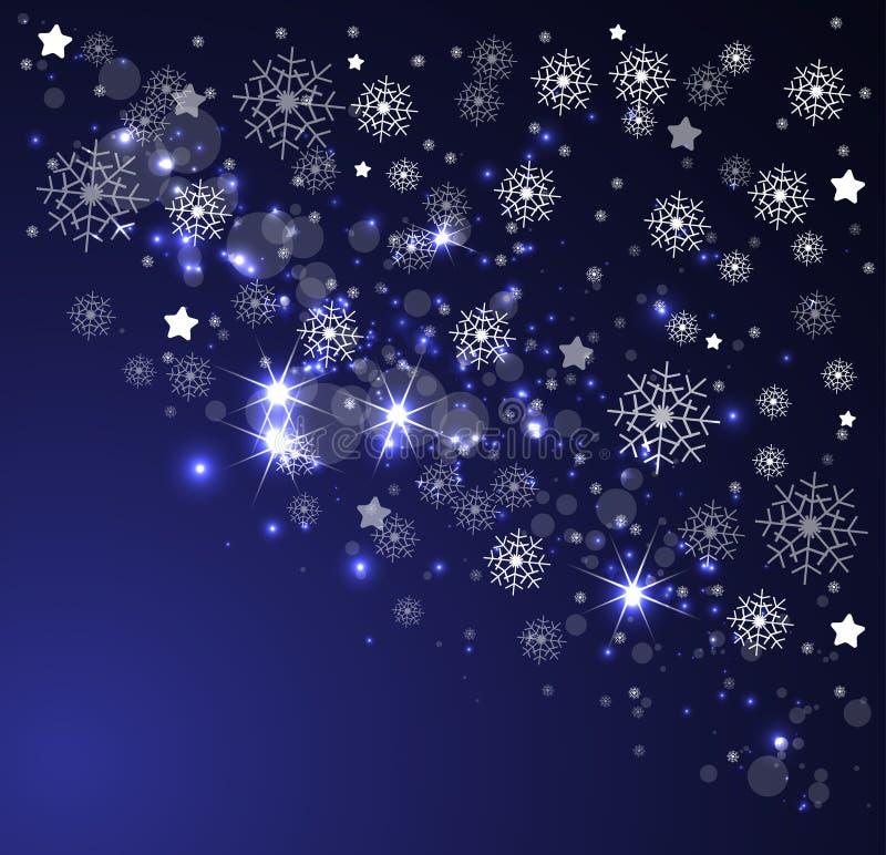Boże Narodzenia i nowego roku nocne niebo royalty ilustracja