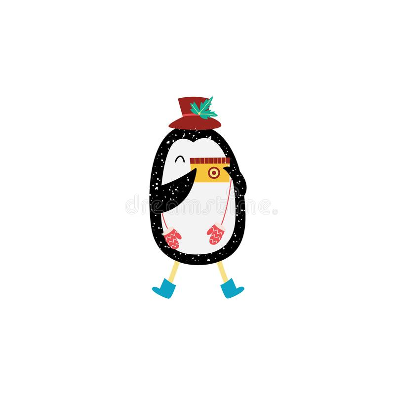 Boże Narodzenia i nowego roku pingwin robią fotografii płaskiej wektorowej ilustracji odizolowywającej royalty ilustracja