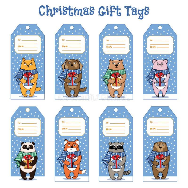 Boże Narodzenia i nowego roku prezenta etykietki z zwierzętami trzyma teraźniejszość royalty ilustracja