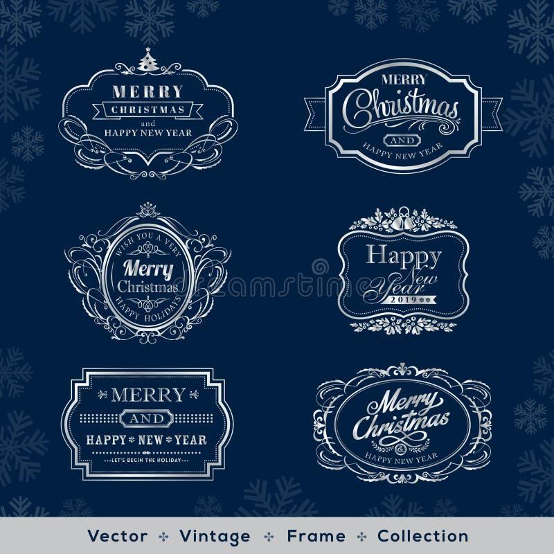 Boże Narodzenia i nowego roku rocznika srebra rama na zmroku - błękitny backgro royalty ilustracja